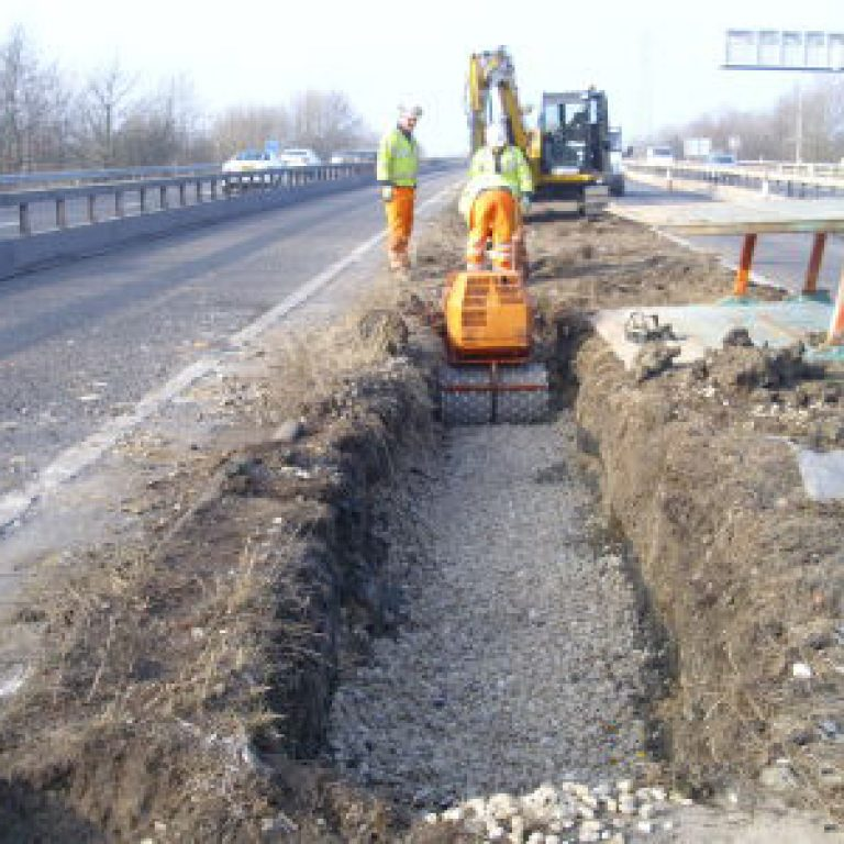 Digger and road works on the M1